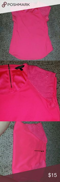 Express Top - price reduced Hot pink express woven tee, with sequin shoulders and zipper on back. Express Tops Blouses