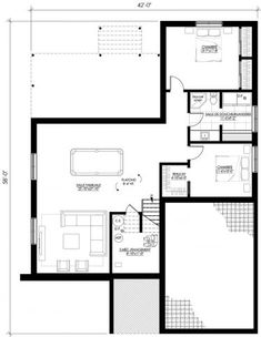 Plan de maison Ë_115 | Leguë Architecture Plane, Green Pond, Bungalow Floor Plans, Dream House Plans, Cabin, Flooring, How To Plan, Home, House Ideas