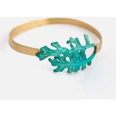 Leaf Brass Cuff Bracelet featuring polyvore fashion jewelry bracelets standard bracelet bangle brass bracelet blue jewelry brass bangles cuff jewelry