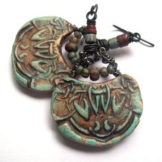 Rustic, Earthy, Tribal, Natural Stones, African Pipestone, Dangle Earrings, Picasso Finish Glass Beads, Niobium Ear Wires