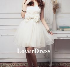 Short Party Dress, White Cocktail Dress, Short Cocktail Dress, Strapless Party Dress, Tulle Cute Fluffy Skirt with Bow