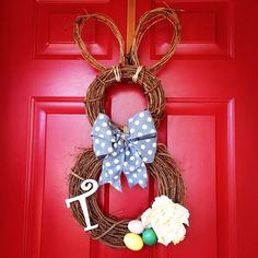 Easter Bunny Grapevine Wreath    Made by Dorene