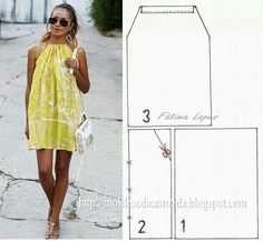 Simple Step by Step Dress – Patterns … - Sommer Kleider Ideen Fashion Sewing, Diy Fashion, Ideias Fashion, Dress Fashion, Fashion Outfits, Fashion Tips, Dress Sewing Patterns, Clothing Patterns, Easy Dress Pattern
