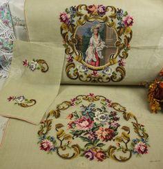 Gallery.ru / Фото #72 - ! - Gulya75 Vintage Embroidery, Ribbon Embroidery, Cross Stitch Embroidery, Cross Stitch Designs, Cross Stitch Patterns, Chair Fabric, Vintage Wool, Needlepoint, Needlework