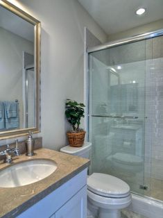 It's all in the details for this simple bathroom. Clean lines and luxurious textures keep it feeling elegant while the glass shower door visually expands the small space. Bathroom Spa, Single Bathroom Vanity, Simple Bathroom, Bathroom Fixtures, Bathroom Ideas, Basement Bathroom, Bath Ideas, Frameless Sliding Shower Doors, Glass Shower Doors