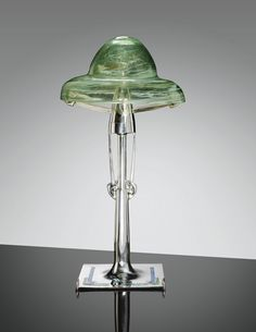 "** Archibald Knox (Manx, 1864-1933), ""Cymric"" Silver, Turquoise, Enameled abd Glass Table Lamp."