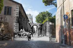 La splendida via Giulia e il ponticello di palazzo Farnese.