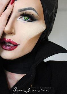 Maleficent Kostüm selber machen - Make Up Ideas Maleficent Makeup, Disney Makeup, Malificent Costume Diy, Disney Character Makeup, Maleficent Cosplay, Disney Costume Makeup, Disney Inspired Makeup, Character Costumes, Halloween Makeup Looks