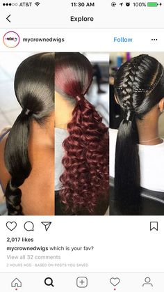 Long hair will always be in fashion. You can create so many different varieties of hairstyles when you have hair that's below the shoulders or longer, in comparison to shorter hair that limits you … Weave Ponytail Hairstyles, Ponytail Styles, Sleek Ponytail, My Hairstyle, Pretty Hairstyles, Girl Hairstyles, Curly Hair Styles, Natural Hair Styles, Low Weave Ponytail
