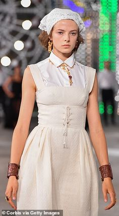 A white corset tied dress is worn with leather wrist cuffs... White Corset, Cruise Collection, Tie Dress, Catwalk, Cool Style, Dior, Fashion, Style Fashion, Moda