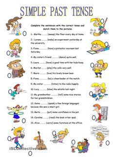 Grammar Exercises - Simple Past Tense. English Grammar Exercises, Teaching English Grammar, Grammar Lessons, English Past Tense, Tenses English, Tenses Grammar, Grammar Worksheets, Nouns Worksheet, Printable Worksheets