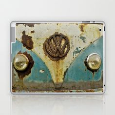VW Rusty Laptop & iPad Skin by Alice Gosling - $25.00  Skins for the ipad, ipad mini and various sizes of laptop #ipad #ipadmini #laptop #VW #Volkswagen #camper #bus #vintage #rust