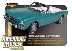 1965 Ford Mustang Convertible Dynasty Green 289 V8 1:18 ERTL 1 of 750 by Autoworld. $58.02. Steerable front wheels. Opening doors & hood. Accurate interior, chassis and trunk. Detailed engine. Heavyweight die-cast metal. Dynasty Green paint glows on this first-time-ever non-GT Mustang converible. White line tires, and white and black interior tops off this classic ride's style. Under the hood sits an A-code 289 V8. Apart of the Autentics Collection by Ertl Colle...