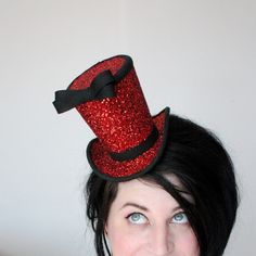 Red glitter mini top hat - burlesque