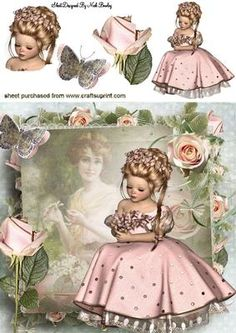 My Beautiful Mother! With Pink Roses Vintage Cards, Vintage Paper, Vintage Images, Print Pictures, Girl Pictures, Envelope Template Printable, Victorian Crafts, Image 3d, Decoupage Printables