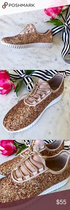HP Rose Gold Glitter Slip On Sneakers BOUTIQUE ITEM New, in box. Bundle 2+ items and get an automatic ✨15% Off!✨ Offers also welcome!  Make a statement with these rose gold glitter sneakers! Lightweight sneakers feature all-over rose gold glitter, rose gold metallic stretch laces, connected tongue, and white foam sole. Extremely comfy, but I don't recommend using them for actual running  Runs about a half size larger. Shoes Sneakers