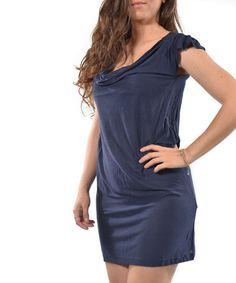 Navy Drape Angel-Sleeve Dress by Lbisse #zulilyfinds