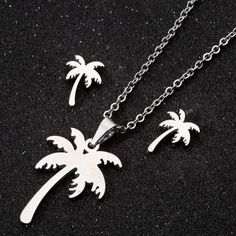 """Palm Coconut Tree Necklace & Earrings - Palm Coconut Tree Necklace & Earrings """" Palm Coconut Tree Necklace & Earrings Best Picture For t - Tree Necklace, Butterfly Necklace, Pendant Necklace, Stainless Steel Earrings, Gold Chains, Jewelry Sets, Gold Earrings, Chokers, Coconut"""