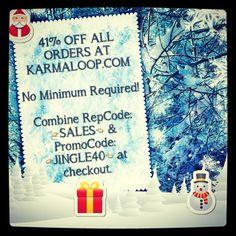 41% OFF ALL ORDERS AT KARMALOOP.COM  No Minimum Required!  Combine RepCode: SALES & PromoCode: JINGLE40 at checkout.  For more Karmaloop discount codes, visit http://www.Karmaloop-Codes.com