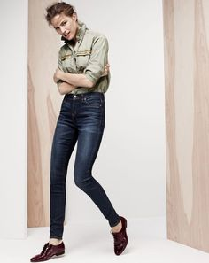 NOV '14 Style Guide: J.Crew women's beaded chevron popover shirt and lookout high-rise jean.