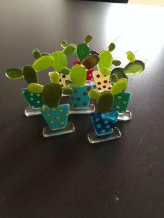 fused glass cacti
