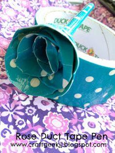Craft Geek: Duct Tape Rose Pen  #crafts #diy #ducttape