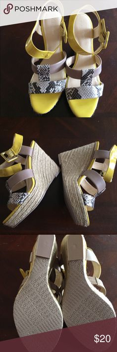 Yellow & snake skin wedges! Brand new, never worn wedges. Yellow with taupe and snakeskin accents 👌🏻 Calvin Klein Shoes Wedges