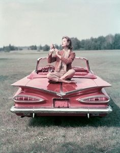 Pink '59 Chevy Impala. Definite road-trip inspiration!  My first car was 1960 Chevy Bel Air