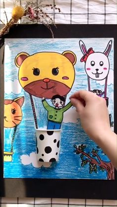Drawing idea for kids Diy Crafts For Gifts, Paper Crafts For Kids, Easy Crafts For Kids, Preschool Crafts, Fun Crafts, Art For Kids, Art Drawings For Kids, Drawing For Kids, Drawing Art