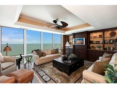 4601 N GULF SHORE, Naples, Fl 34103 | one of the most exclusive properties in Naples - I'm not sure many people sitting in this room would be able to tear their eyes away from the view to watch tv.  Enclave at Park Shore
