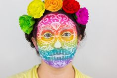 Rainbow sugar skull makeup tutorial for Halloween or Day of the Dead celebrations