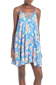 Soprano Crisscross Detail Floral Print Shift Dress available at #Nordstrom