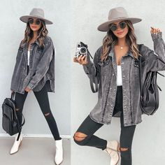 """VICIDOLLS on Instagram: """"TREND SPOTLIGHT // DENIM ON DENIM We are obsessed with @jilldeconti in this ultra fab denim on denim #ootd that is ready to take the day…"""" New Outfits, Fall Outfits, Hockey Outfits, Military Jacket, Rain Jacket, Autumn Fashion, Windbreaker, Denim Ootd, Clothes For Women"""