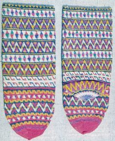 Traditional hand-knitted woollen socks, for women.  From Balkan immigrants, who settled in the Afyon province, mid-20th century.