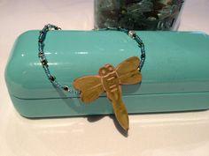 #dragonfly #blue #green #glass #beads #silver #bracelet #jewelry #handmade