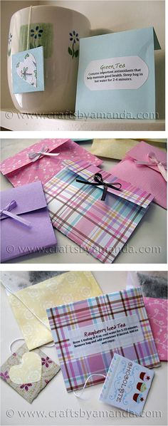 Valentine Tea Bags - Make a lovely gift or tea party favor when tucked into envelopes made from scrapbooking paper / DIY instructions / CraftsbyAmanda