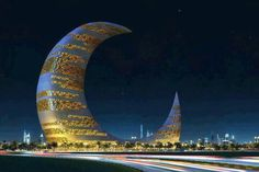 Dubai crescent moon tower