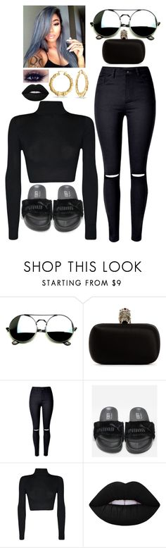 """""""Black Out ♡"""" by imahniwilliams ❤ liked on Polyvore featuring Alexander McQueen, WithChic, WearAll and Lime Crime"""