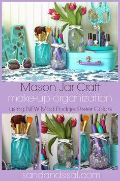 Mason Jars for organizing make up :: OrganizingMadeFun.com