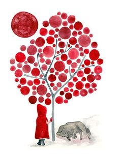 Little Red Riding Hood and the Wolf: Painting by Angela Vandenbogaard on Etsy