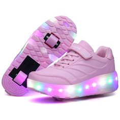 Hanglin Trade 7 Colors Unisex-Child LED Light Up Sport Running Shoes Luminous Flashing Glow Sneakers Student Dance Boots