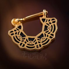 Lace Gold Plated Sterling Silver Septum Ring For Pierced Nose 1.2mm (16g), Tragus Ring, Septum Ring, Tribal Septum Ring (Code 52)