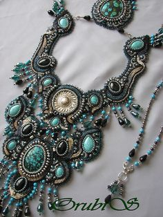 Amazing turquoise beadwork necklace. I have no idea what id wear this with but i love it