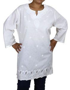 White Summer Tunic Kurti Women Plus Size Clothing Cotton Embroidered (XL/42) ShalinIndia http://www.amazon.in/dp/B00CC8ZB6Q/ref=cm_sw_r_pi_dp_5f10tb1XHN80ZE1J