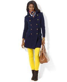 Lauren Ralph Lauren Coat, Double-Breasted Knit Wool Women - Coats - Macy s 49accef58e