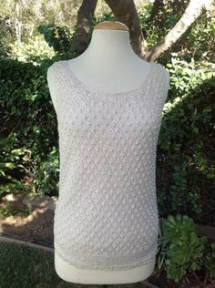 VINTAGE-60S-SLEEVELESS-BEADED-IRIDESCENT-SEQUIN-PEARL-COCKTAIL-SAKS-EVENING-TOP