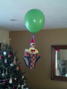 Elf on the Shelf - Air balloon ride Uh sorry NO. It takes 10 Mylar helium filled balloons to make an elf float. Merry Little Christmas, Christmas Elf, Christmas Music, Christmas Ideas, Holiday Crafts, Holiday Fun, Holiday Mood, Elf Auf Dem Regal, L Elf