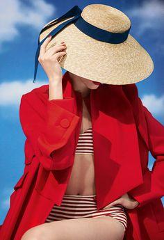 Daria Strokous - Page 36 - the Fashion Spot Fascinator, Valentino, Pink Beach, Nautical Fashion, Nautical Style, Bikini, Swimsuit, Love Hat, Summer Colors