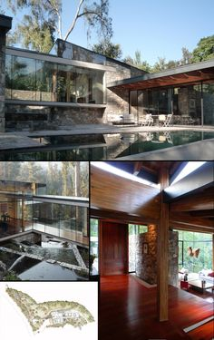 Casa Boher (2009) | Crossed by an artfully terraced irrigation canal, this beautiful glass and stone home sits on the side of a hill in the Lo Curro area of Santiago, Chile. Schmidt Arquitectos Asociados, photos: Martin Schmidt R. (Pinterest rejects the following link as spam, but it's the architect's page for this work: s3(dot)cl/filter/home/Casa-Boher)