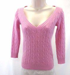 RALPH LAUREN Black Label Light Pink Metallic Cashmere V-neck Sweater ¾ Sleeve XS #RalphLauren #VNeck